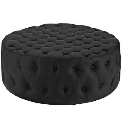 Black Amour Upholstered Vinyl Ottoman - Home Depot
