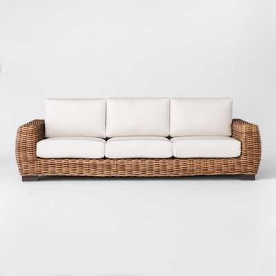 Eldridge Wicker Patio Sofa with Sunbrella Cushions - Brown/White - Smith & Hawken - Target