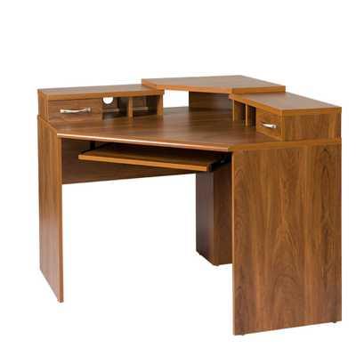 Corner Desk with Monitor Platform, Keyboard Shelf and 2-Drawers, Autumn Oak - Home Depot