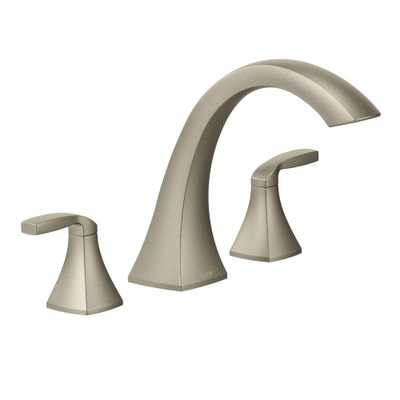 MOEN Voss 2-Handle Deck-Mount High-Arc Roman Tub Faucet Trim Kit in Brushed Nickel (Valve Not Included) - Home Depot