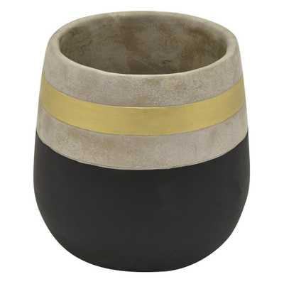 THREE HANDS 9 in. Black and Gold Flower Pot - Home Depot