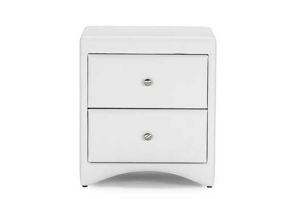 Baxton Studio Dorian White Faux Leather Upholstered Modern Nightstand - Lark Interiors
