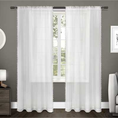 Amalgamated Textiles Pom Winter White Pom Applique Bordered Textured Sheer Rod Pocket Top Window Curtain - Home Depot