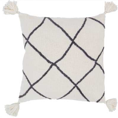 "Omari Pillow, 20""x20"", Cream - Roam Common"