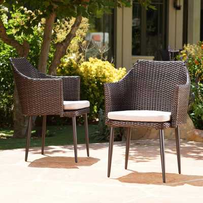 Noble House Iona Multi-Brown Arm Wicker Outdoor Dining Chair with Beige Cushion (2-Pack) - Home Depot