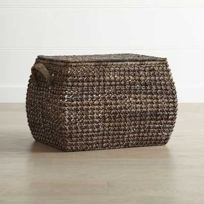 Zuzu Large Rectangular Handwoven Basket with Lid - Crate and Barrel