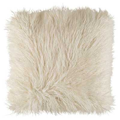 Milla Regency Faux Fur Textured Ivory Throw Pillow - 20x20 - Kathy Kuo Home