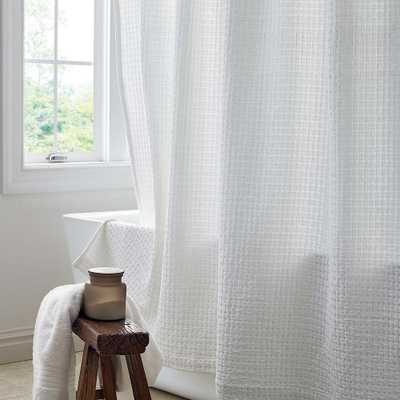 Basket Weave 72 in. White Shower Curtain - Home Depot
