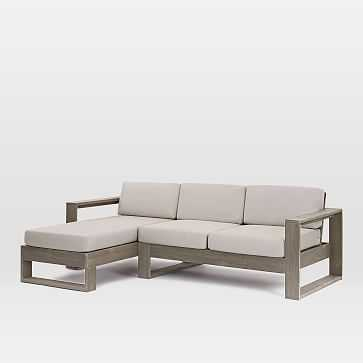 Portside Set 2: Weathered Gray Left Arm Chaise + Right Arm Sofa - West Elm