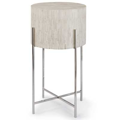 Dhaka Modern Global Bazaar White Bone Drum Side Table - Silver - Kathy Kuo Home