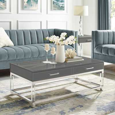 Inspired Home Caspian Dark Grey/Chrome Coffee Table with High Gloss Finish - Home Depot
