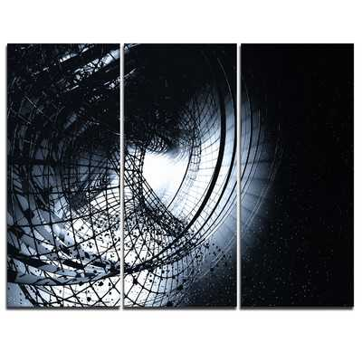 3D Abstract Art Black Spiral 3Piece Graphic Art on Wrapped Canvas Set - Wayfair