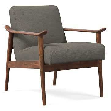 Midcentury Show Wood Chair, Poly, Chunky Basketweave, Metal, Pecan - West Elm