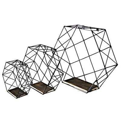 Murray Hexagon Wall-Mounted Metal Wire Hanging Storage Shelves, Set Of 3, Matte Black - Wayfair