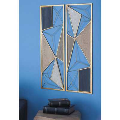 35 in. x 12 in. W Assorted Modern Geometric Metal Wall Plaque - Home Depot