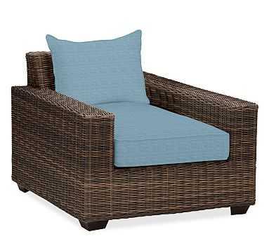 Torrey Square Arm Swivel Occasional Chair Cushion Slipcover, Sunbrella(R) Horizon - Pottery Barn