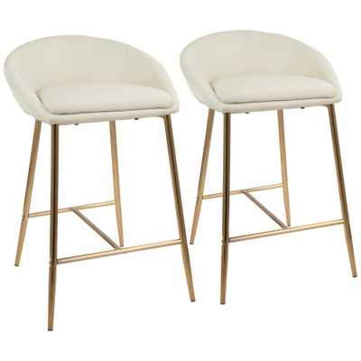 Matisse 26 in. Gold and Cream Fabric Upholstered Counter Stool (Set of 2), Ivory/Gold - counter - Home Depot