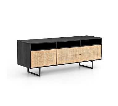 Dolores Cane Media Console, Black - Pottery Barn