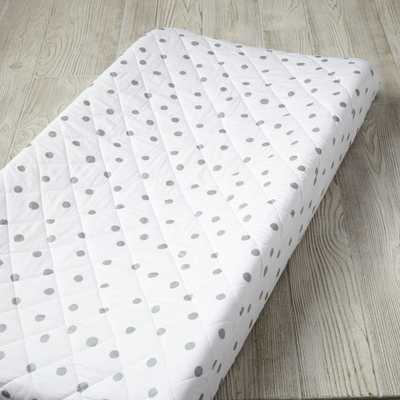 Silver Polka Dot Changing Pad Cover - Crate and Barrel