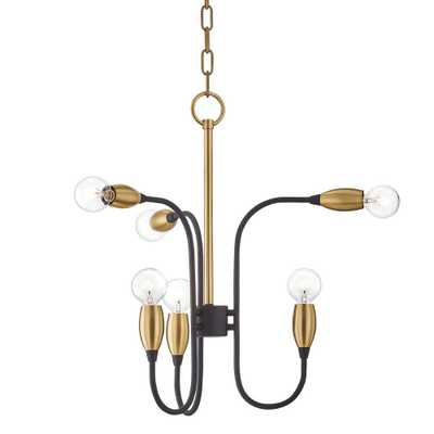 Mitzi by Hudson Valley Lighting Dakota 6-Light Aged Brass/Black Chandelier - Home Depot