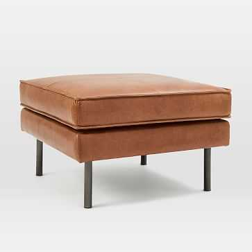 Axel Ottoman, Leather, Saddle - West Elm