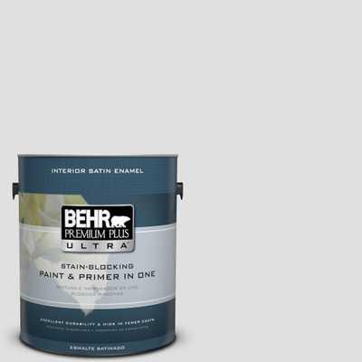 BEHR Premium Plus Ultra 1 gal. #MQ3-55 White Lie Satin Enamel Interior Paint and Primer in One - Home Depot
