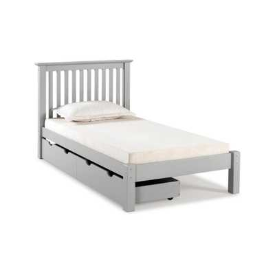 Barcelona Dove Gray Twin Bed with Storage Drawers - Home Depot