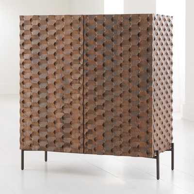 Raffael Carved Wood Bar Cabinet - Crate and Barrel
