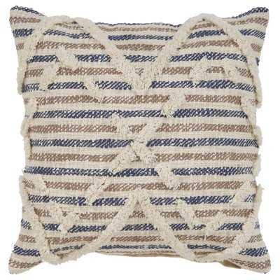Glenna Textured Stripe Cotton Throw Pillow - Wayfair