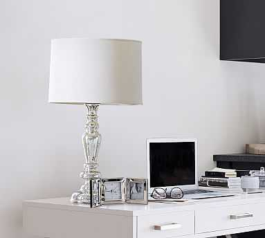 Leera CFL Table Lamp, Mercury Base with Medium Gallery Straight Sided Cotton Linen Drum Shade, White - Pottery Barn