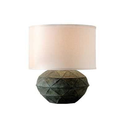 Troy Lighting Patina 20.5 in. Verde Table Lamp with Off-White Linen Shade - Home Depot