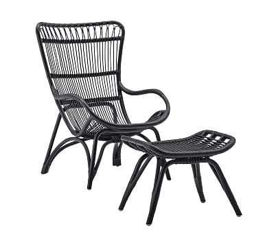 Sika Design Monet Rattan Chair and Ottoman, Black - Pottery Barn