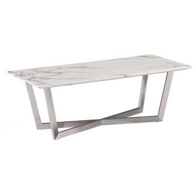 Wexham Faux Marble Cocktail Table - Soft Ivory With Gray - Aiden Lane - Target