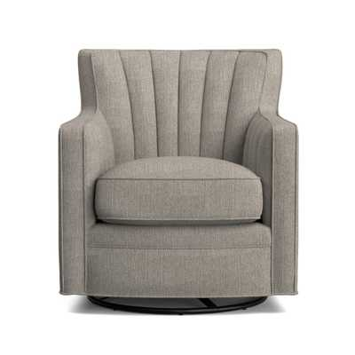 Zahara Dove Gray Linen Swivel Arm Chair - Home Depot