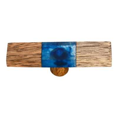 Fusion 2-7/8 in. Wood and Smoky Blue Cabinet Knob - Home Depot