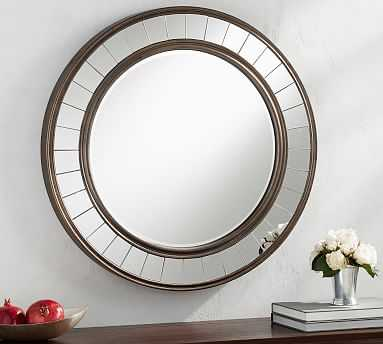 "Round Wood Mirror With Trim, Antique Bronze - 30.5"" Round - Pottery Barn"