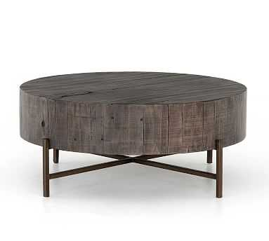 Fargo Round Coffee Table, Distressed Gray/Patina Copper - Pottery Barn