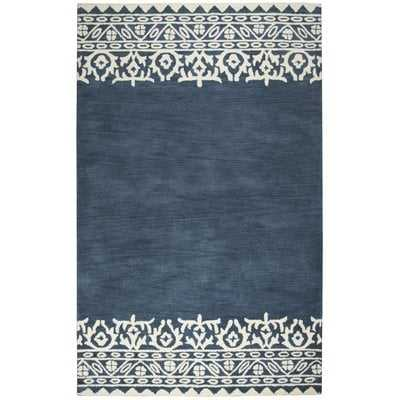Vivian Geometric Hand-Tufted Wool Blue/Ivory Area Rug - Birch Lane