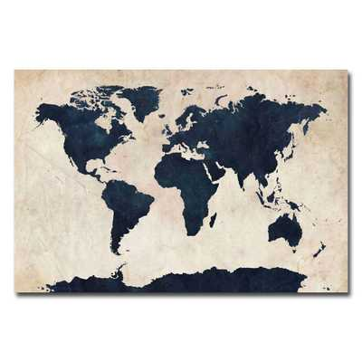 30 in. x 47 in. World Map - Navy Canvas Art, Multi - Home Depot