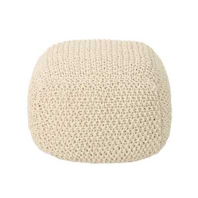 Noble House Pim Beige Knitted Cotton Pouf - Home Depot