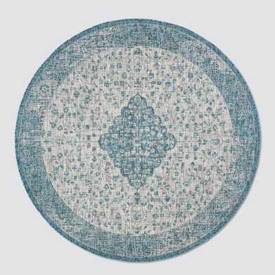 6'7 Round Owena Outdoor Rug Teal/Cream - Safavieh, Blue Off-White - Target