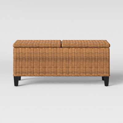 Fullerton Steel Wicker Patio Folding Storage Coffee Table Brown - Threshold - Target