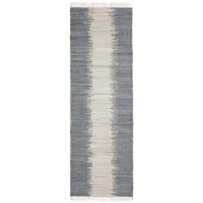 Bruges Jagged Handmade-Flatweave Cotton Gray/White Area Rug - Wayfair