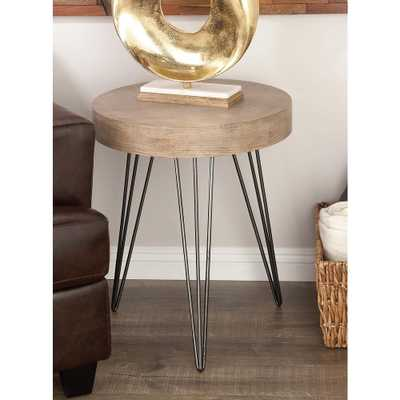 Modern Metal and Wood Accent Table in Brown and Black - Home Depot