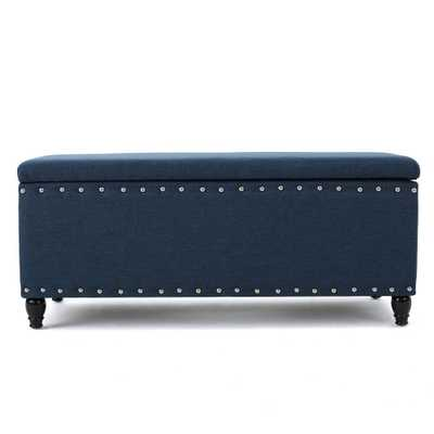 Noble House Tatiana Navy Blue Fabric Storage Bench with Studs, Navy Blue/Dark Brown - Home Depot