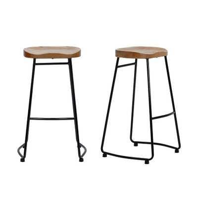 StyleWell Black Metal Backless Bar Stool with Wood Seat (Set of 2) (18.5 in. W x 29.52 in. H) - Home Depot