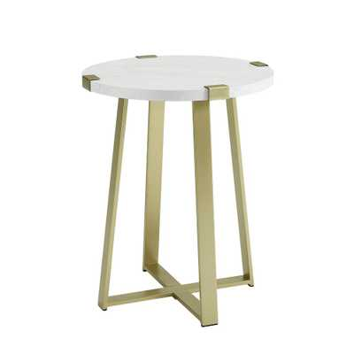 Walker Edison Furniture Company 18 in. Faux Marble Gold Urban Industrial Wood and Metal Wrap Round Accent Side Table, White Faux Marble/Gold - Home Depot