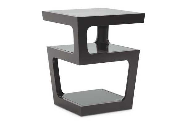 Baxton Studio Clara Black Modern End Table with 3-Tiered Glass Shelves - Lark Interiors