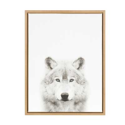 """Kate & Laurel 24""""x18"""" Sylvie Wolf And Portrait By Simon Te Tai Framed Wall Canvas Wood - Target"""