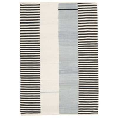 Aryn Stripe Wool Slate Area Rug - Wayfair